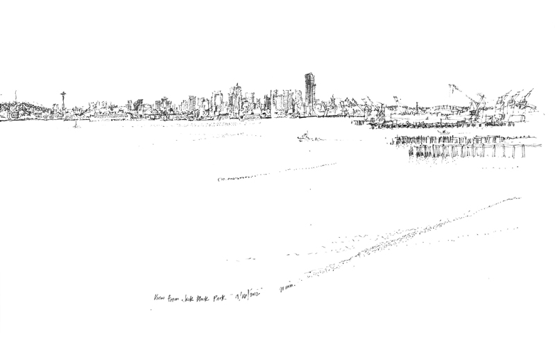 Seattle Skyline Drawing Because i Was Drawing in a 5′