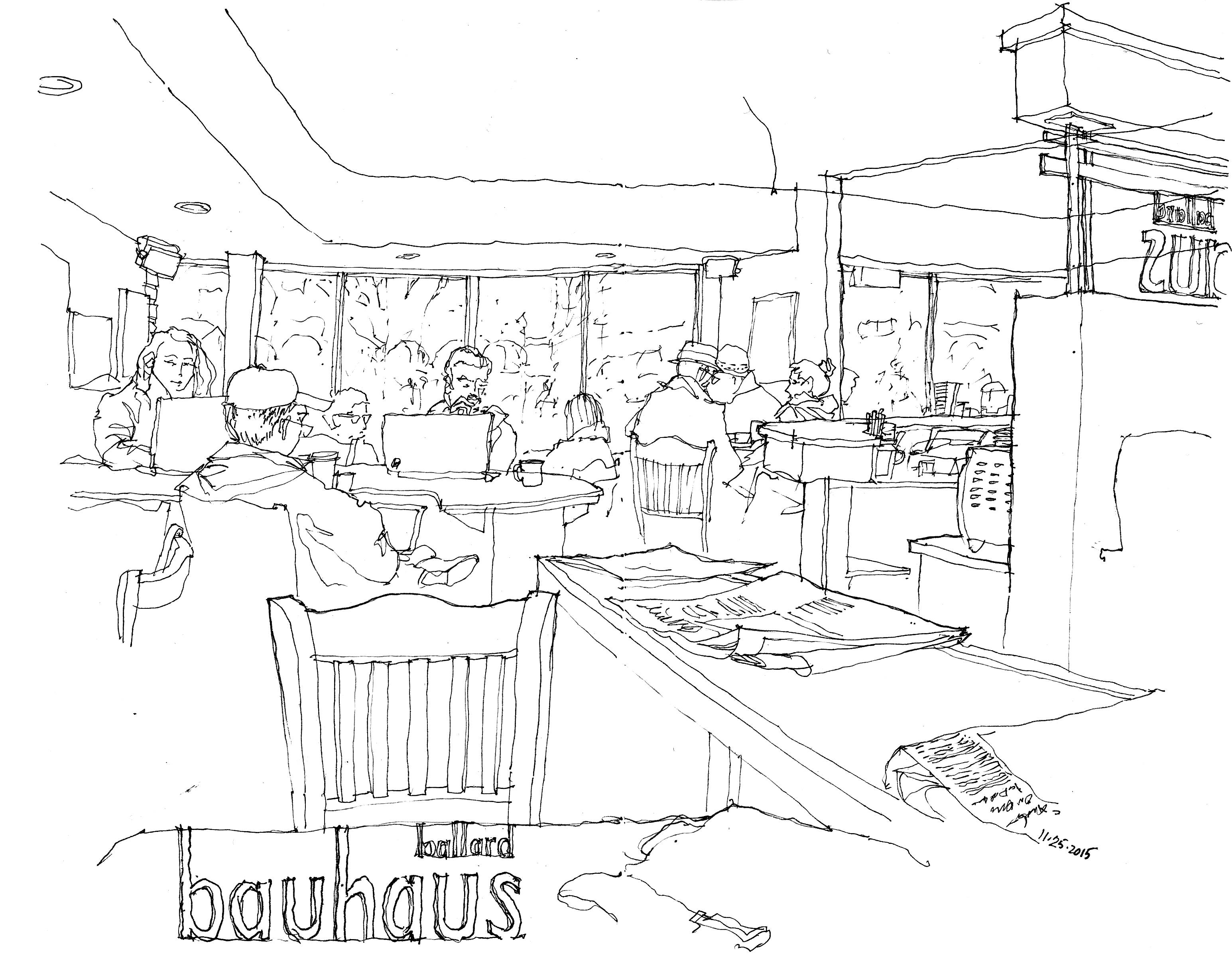 Cafe drawing interior -  Sketch Of The Interior Of Bauhaus Books And Coffee On Capitol Hill The First Of Its Three Locations Which Opened In 1993 And Here Is Its Newest Cafe