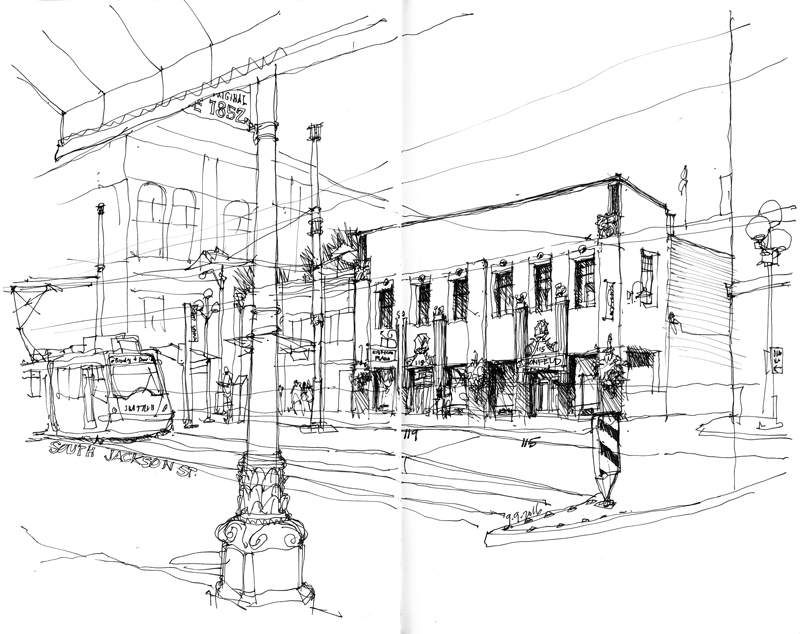 pioneer drawing. the first drawing is of an elegant art deco facade added in 1929 to unify and conceal two separate buildings that were built around 1900. pioneer